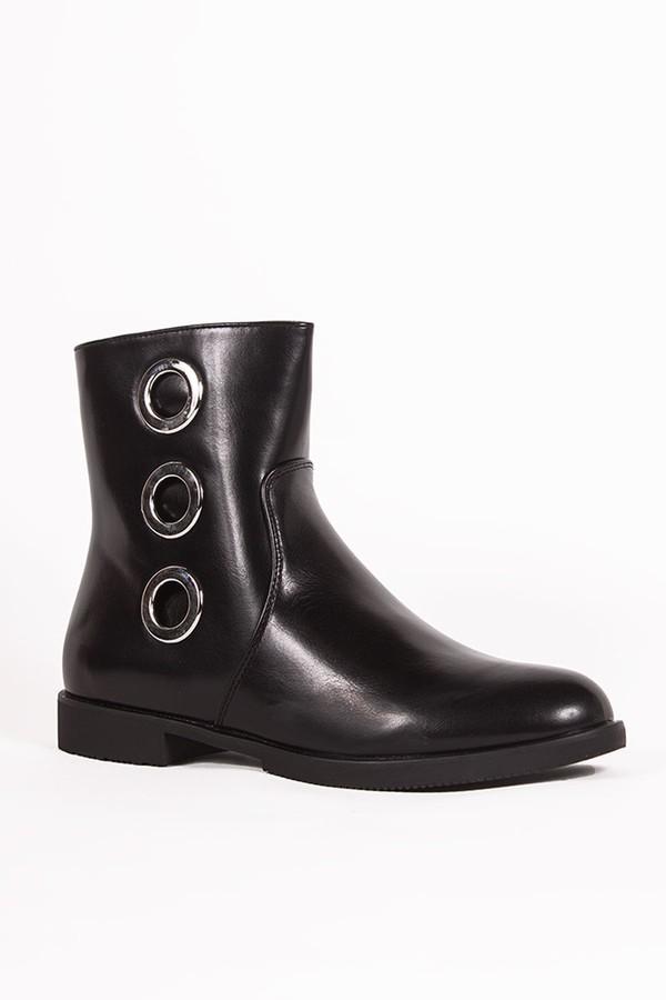 JASMINE Black Eyelet Detail Ankle Boots
