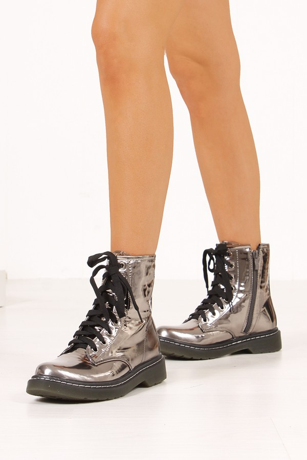 JULIA Silver High Shine Metallic Lace Up Ankle Boots
