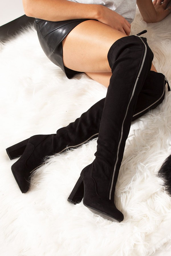 KINSLEY Black Faux Suede Zip Front Over The Knee Boots