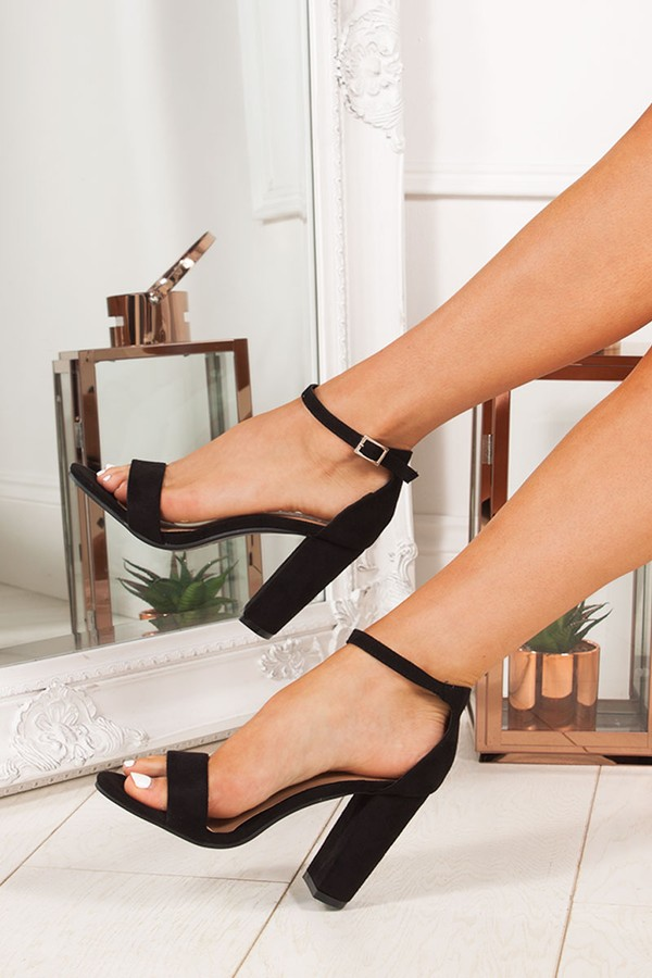 LAYLA Black Ankle Strap Chunky Heels
