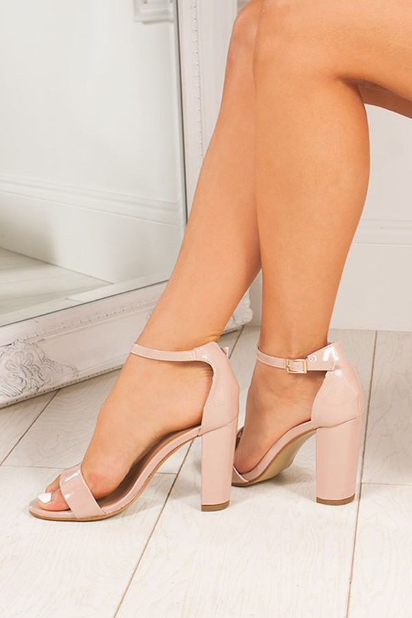 LAYLA Nude Ankle Strap Chunky Heels