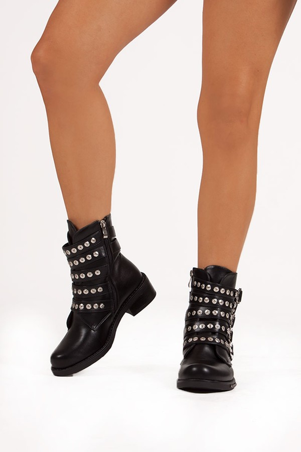 MATILDA Black Buckle Boots With Stud Detail