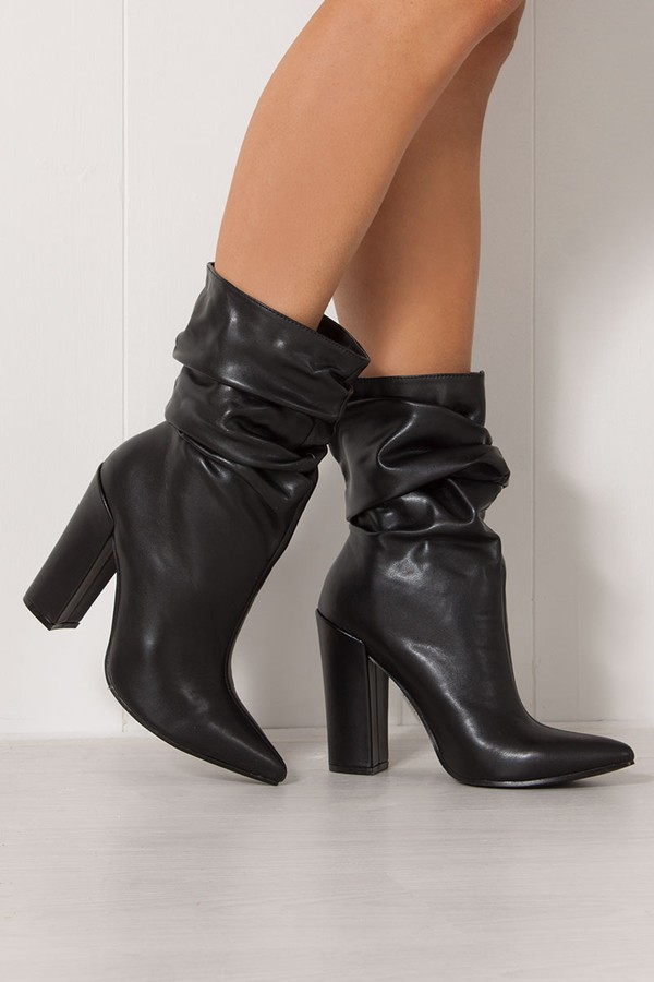 reliable quality limited guantity customers first MIRANDA Black Faux Leather Ruched Sock Ankle Boots
