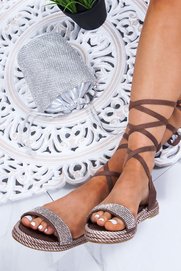 6ed20792ff CELINE Mocha Wrap Up Rope Sandals With Diamante Detail
