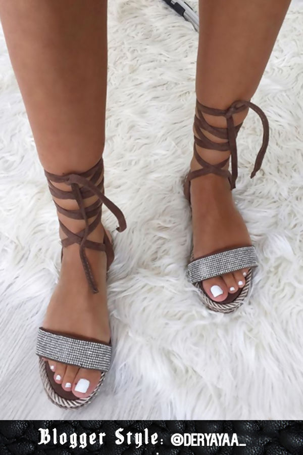 Celine Mocha Wrap Up Rope Sandals With Diamante Detail by Lavish Luxe