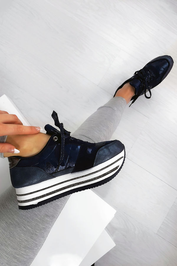 NARLA Navy Diamante Velvet Faux Suede Chunky Trainers
