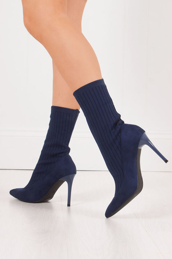 MISSY Navy Ribbed Knitted Sock Boots With Stiletto Heel
