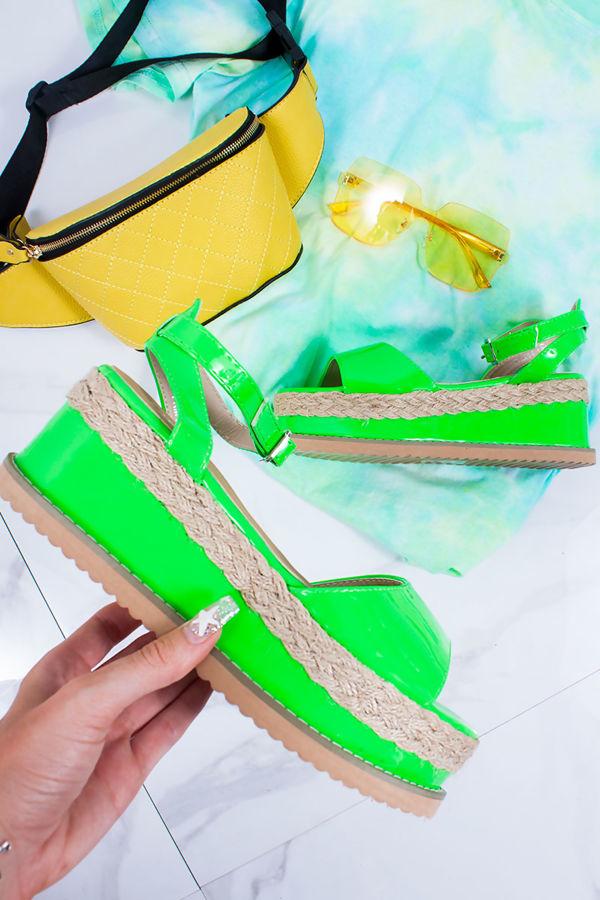KENDALL Neon Green Flatform Espadrille Sandals