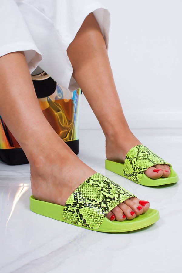 2805be0da7 GRACE Neon Green Snake Print Sliders
