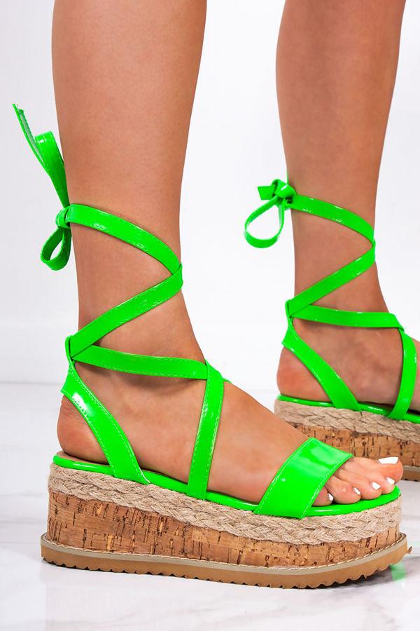 INDIGO Neon Green Wrap Up Espadrille Flatforms