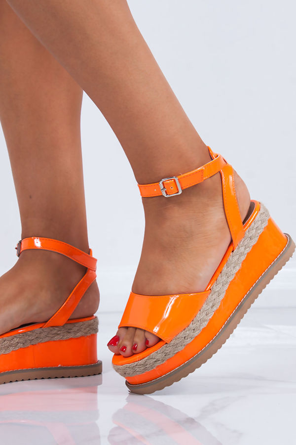 KENDALL Neon Orange Flatform Espadrille Sandals
