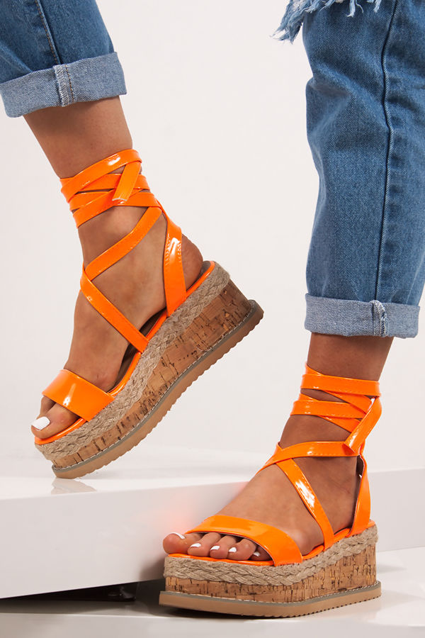 INDIGO Neon Orange Wrap Up Espadrille Flatforms