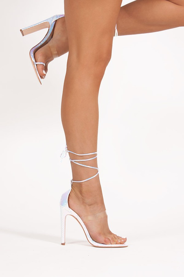 NICKI Holographic Snake Print Wrap Up Flat Block Heels