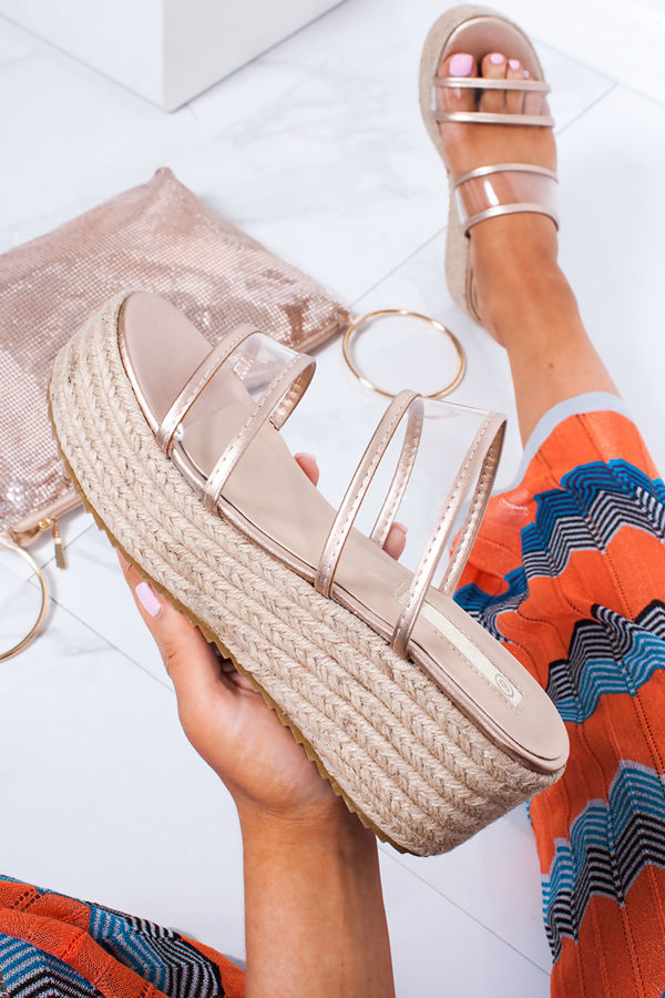 GWEN Rose Gold Clear Double Strap Mule Espadrille Flatforms