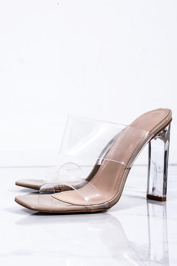 BETHLYN Nude Clear Strap Mule Block Heels
