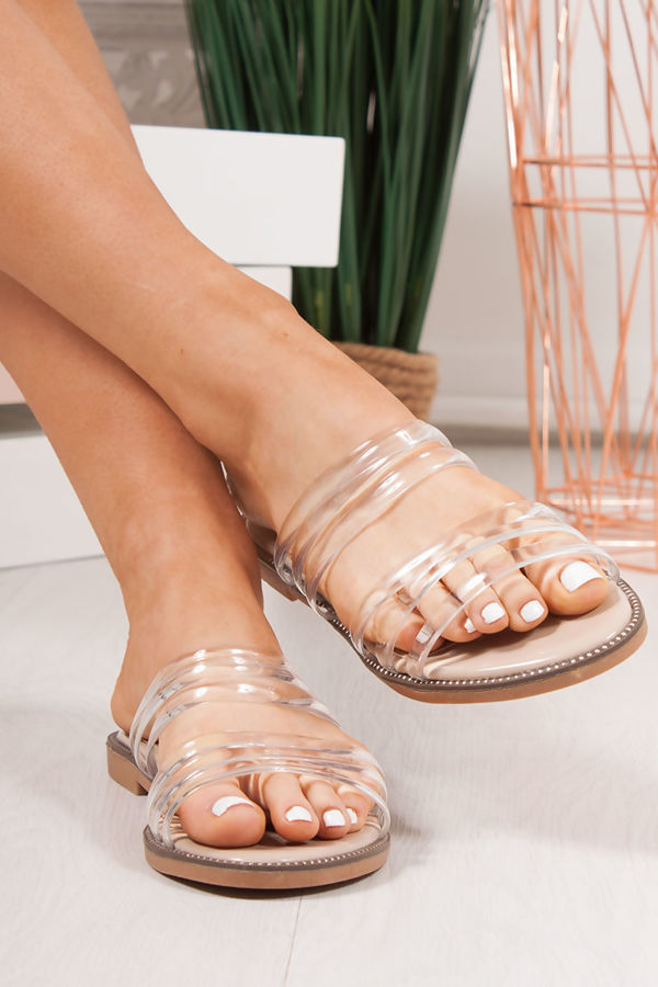 CLOVER Nude Clear Strap Sandals