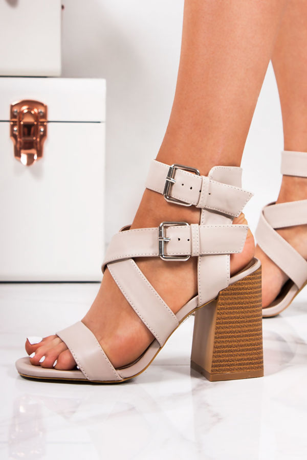 c424a2136 LAUREL Nude Cross Strap Block Heeled Sandals
