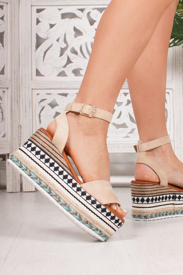 LIVI Nude Faux Suede Strap Aztec Flatform Sandals