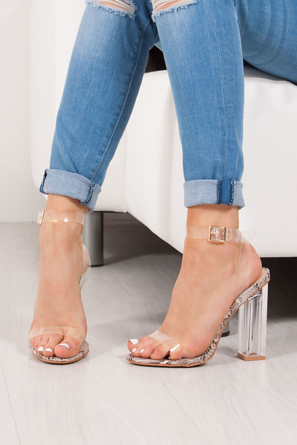 EVELYN Snake Print Clear Block Heels