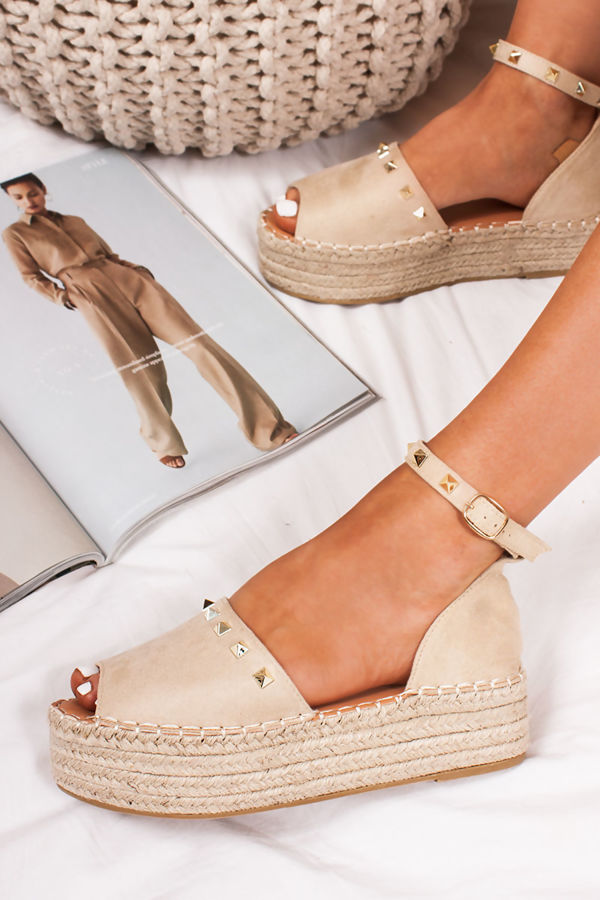 SHELBY Cream Suede Stud Detail Espadrille Flatforms
