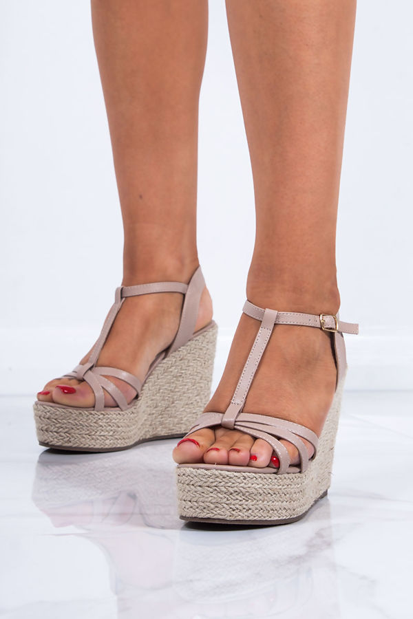 REMI Nude T-Bar Strap Espadrille Wedges