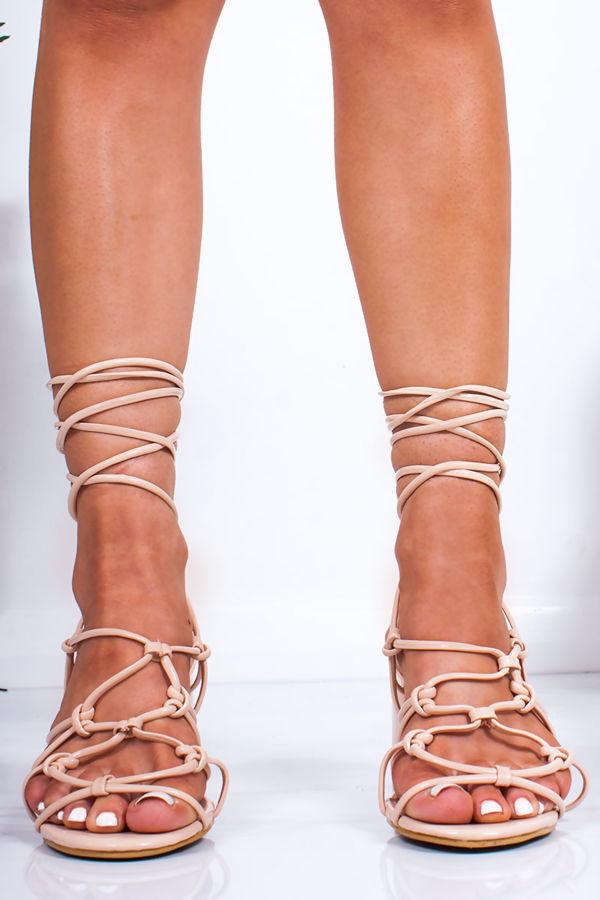 MAYA Nude Strappy Wrap Up Block Heeled Sandals