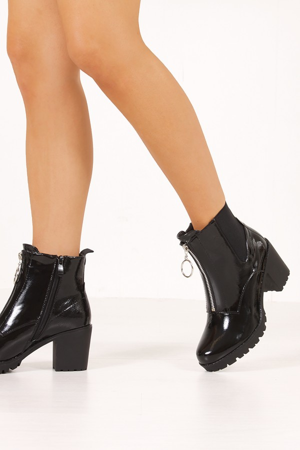 PHOEBE Black High Shine Zip Detail Block Heeled Ankle Boots