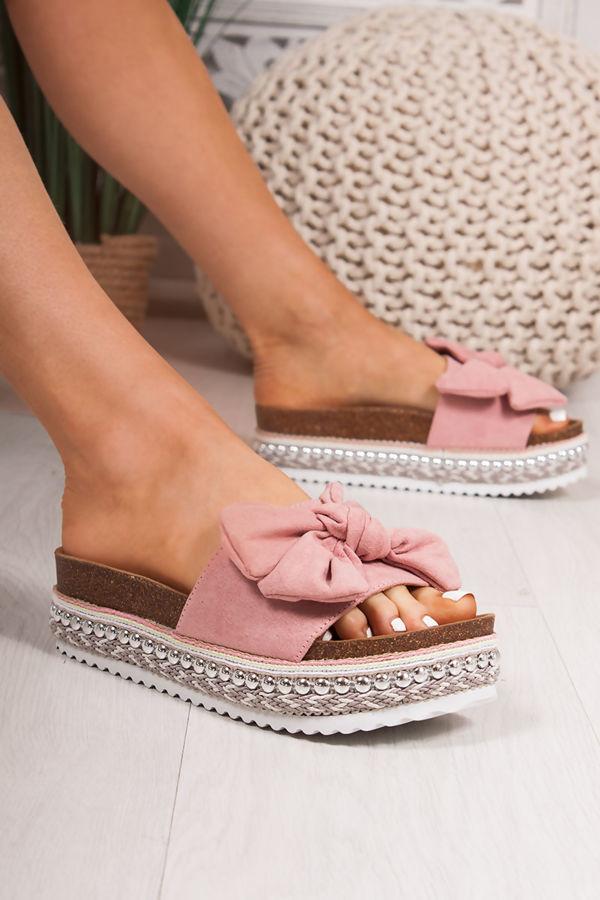 KIRA Pink Bow Aztec Stud Flatform Sandals