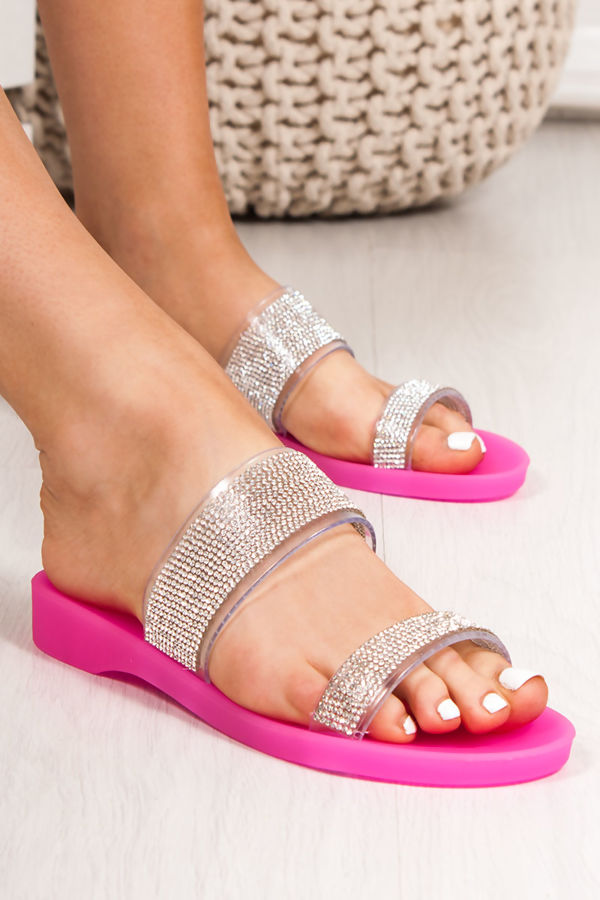 BETHANY Fuchsia Diamante Strap Jelly Sandals