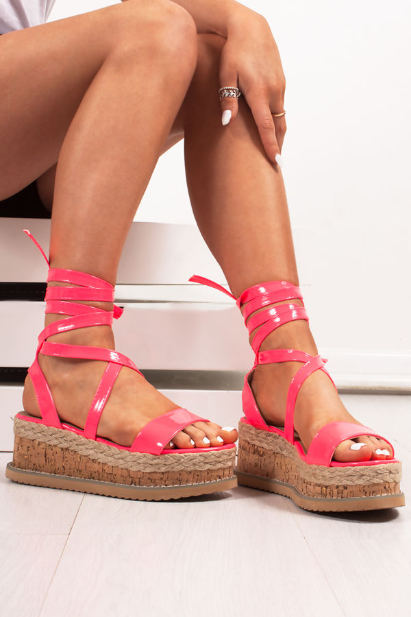INDIGO Neon Pink Wrap Up Espadrille Flatforms