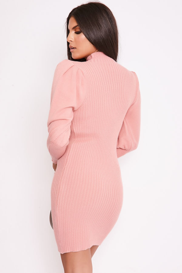 FREDA Pink Ribbed Puff Sleeve Knitted Jumper Dress