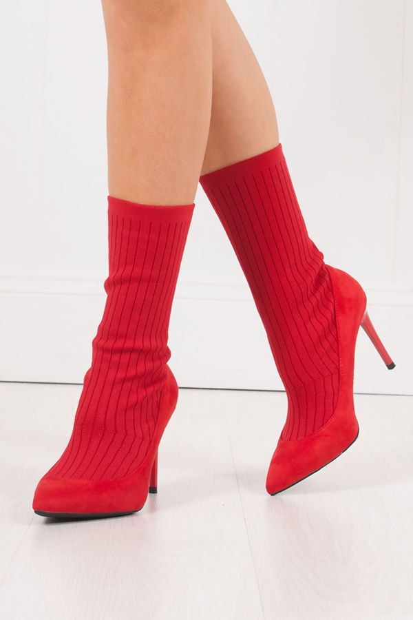 MISSY Red Ribbed Knitted Sock Boots With Stiletto Heel