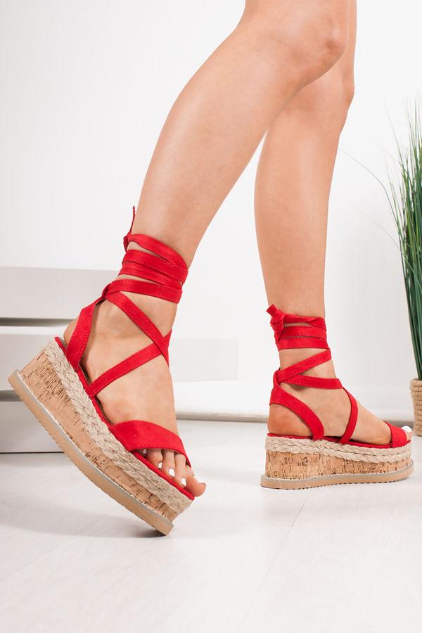 INDIGO Red Suede Wrap Up Espadrille Flatforms