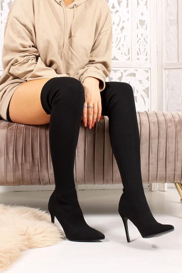 REGINA Black Ribbed Over The Knee Sock Boots