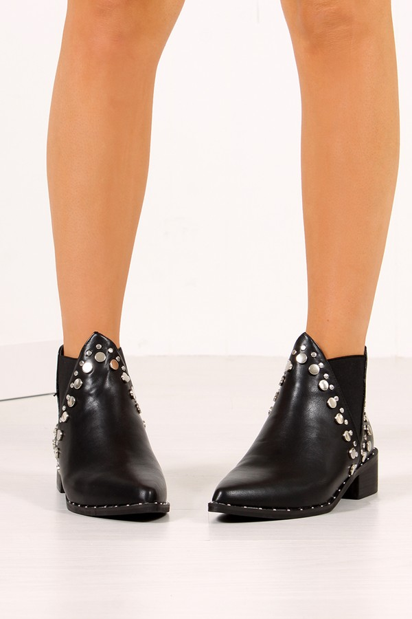 RIAH Black Silver Studded Western Style Ankle Boots