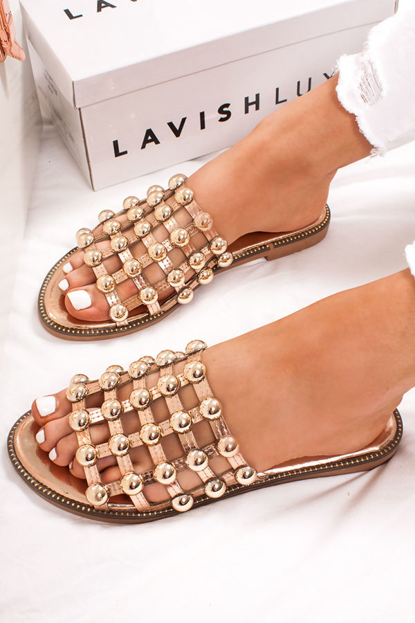 b65e69f7ce63f8 VENUS Rose Gold Stud Slider Sandals With Rose Gold Detail
