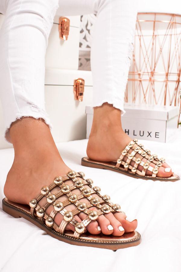 VENUS Rose Gold Stud Slider Sandals With Rose Gold Detail