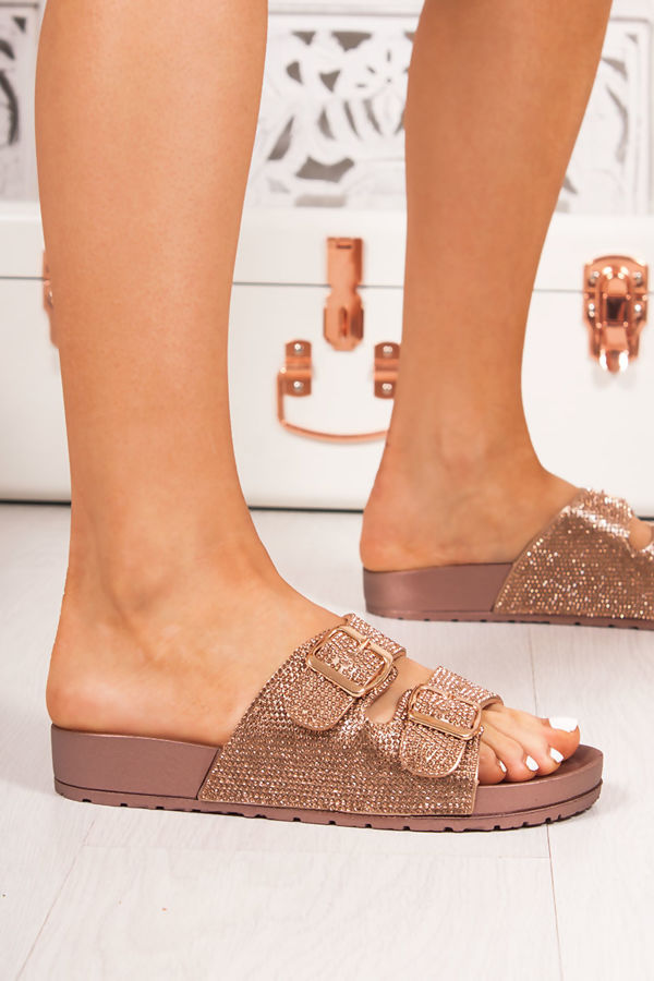 FAYE Rose Gold Diamante Double Buckle Strap Sliders