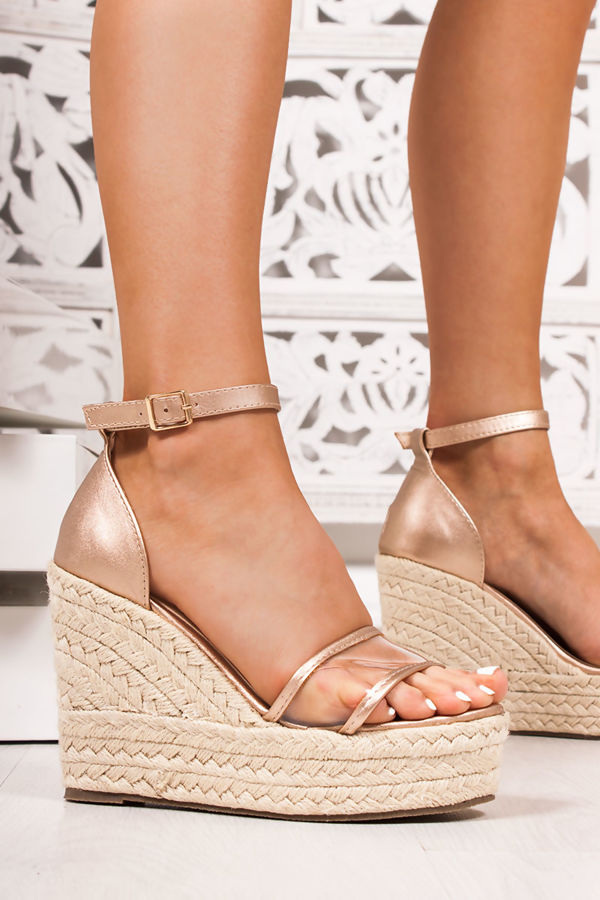 CLEO Rose Gold Clear Strap Espadrille Wedges