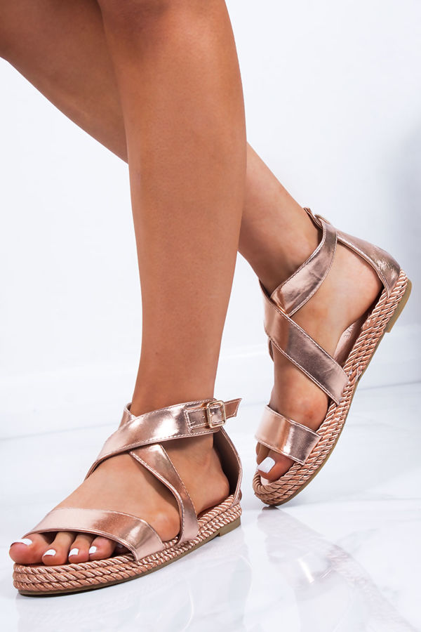 HEIDI Rose Gold Strappy Rope Sandals