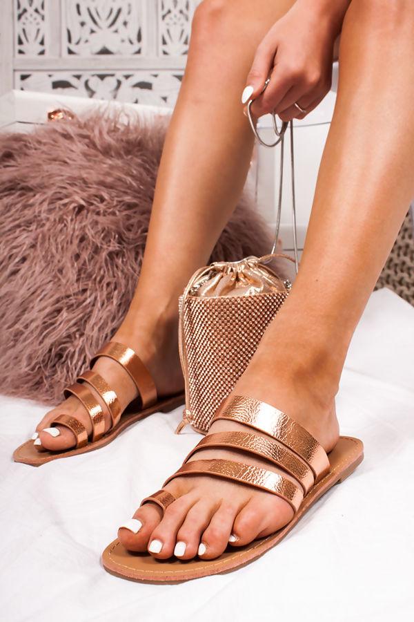 CALLIE Rose Gold Strap Toe Loop Sandals