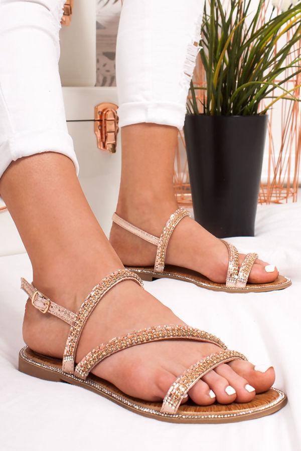 2bf43861f JASMINE Rose Gold Diamante Strap Flat Sandals