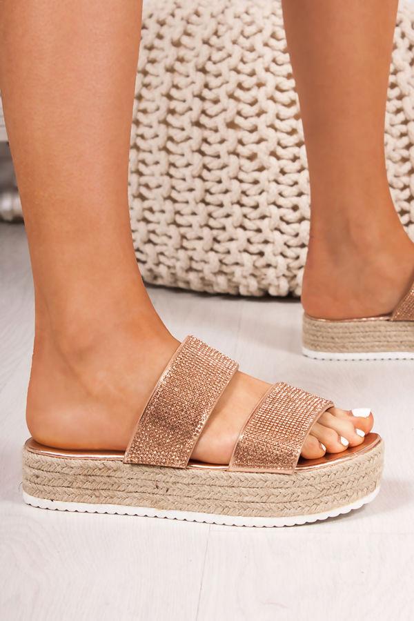 fb31fbc7427 AMIE Rose Gold Diamante Strap Espadrille Flatform Sandals
