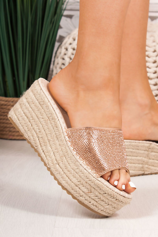 MARA Rose Gold Diamante Strap Mule Espadrille Flatforms