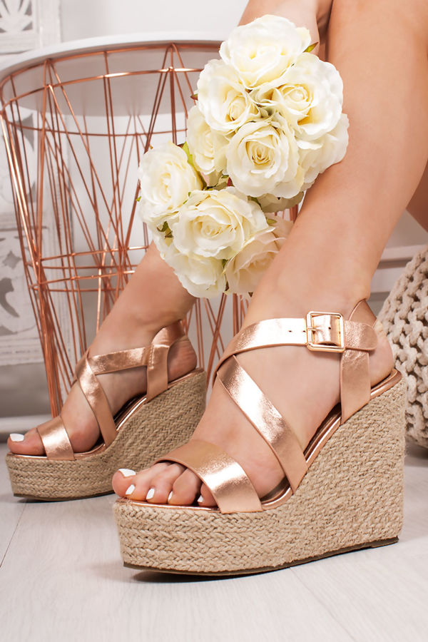 81c5a36738b ZARA Rose Gold Strappy Espadrille Wedges
