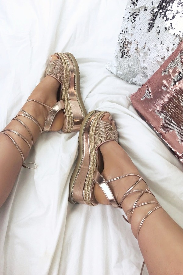 KENDALL Rose Gold Wrap Up Espadrille Flatform Sandals With Diamante Detail