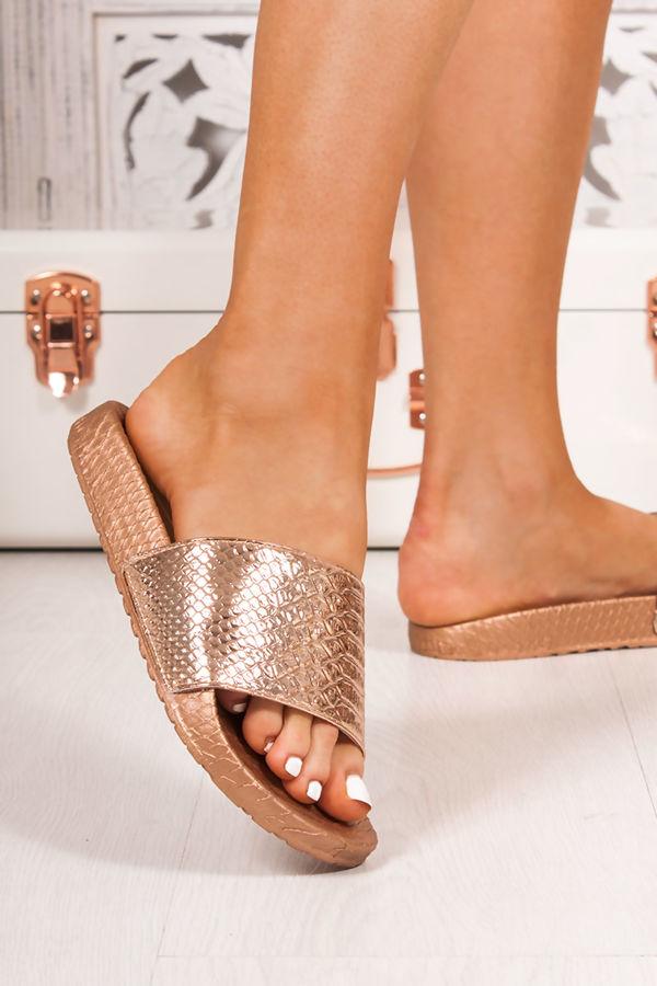 FIFI Rose Gold Croc Print Metallic Strap Sliders