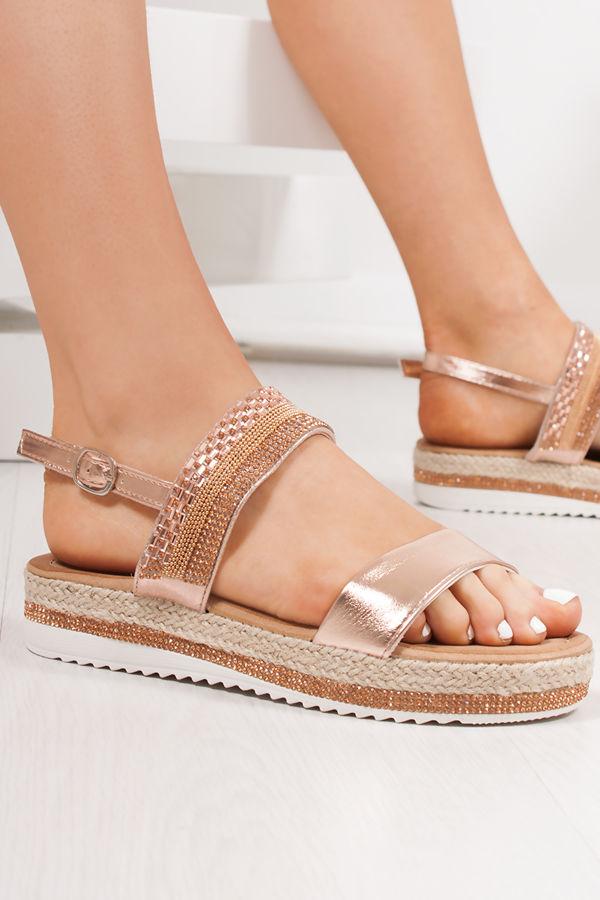 VIENNA Rose Gold Diamante Detail Flatform Espadrille Sandals