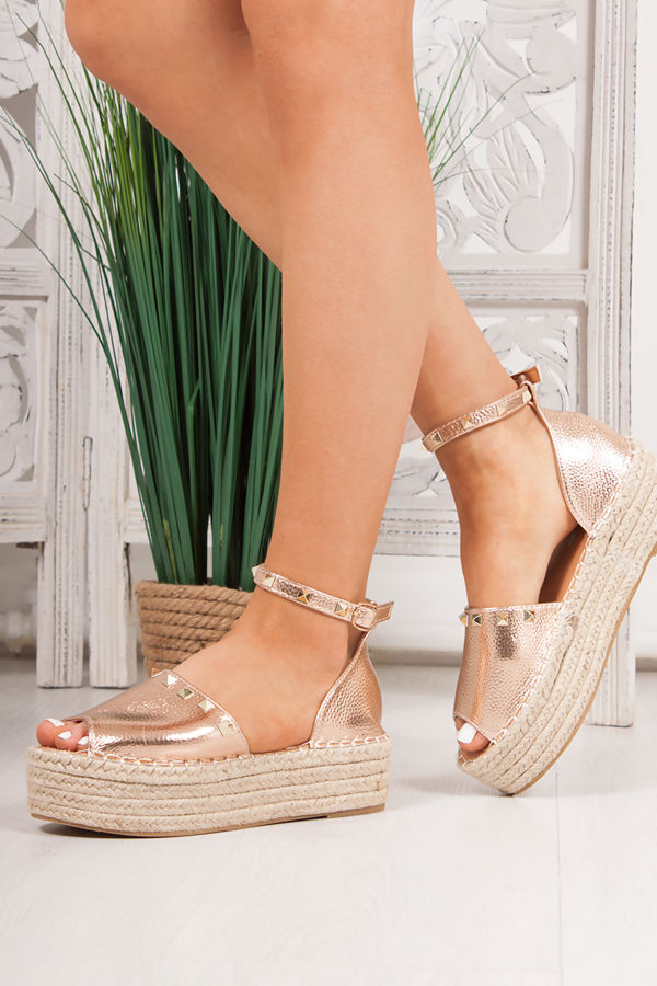 1eeb966eca22 SHELBY Rose Gold Metallic Stud Detail Espadrille Flatforms