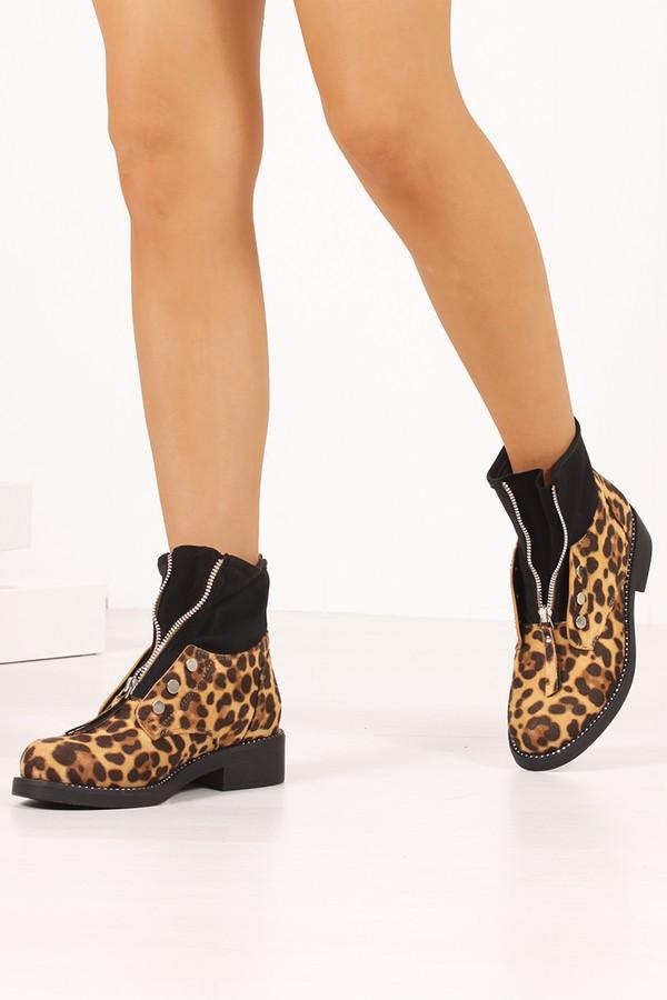 SAVANNAH Leopard Print Zip Front Ankle Boots